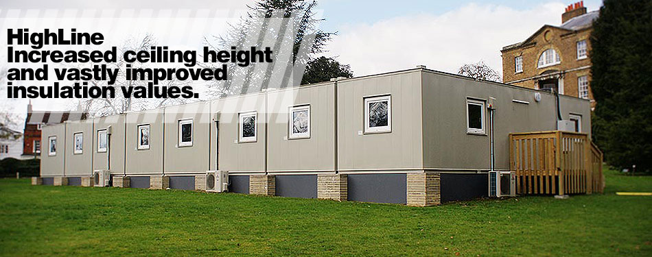 Modular buildings with increased ceiling height and insulation values